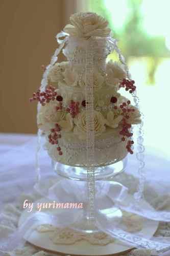 3段のお花のケーキ